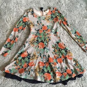 Gray, floral sweater dress.
